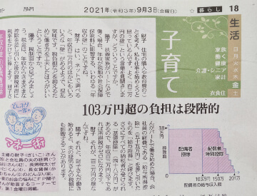 東京新聞2021年9月3日「生活子育て」八木陽子監修